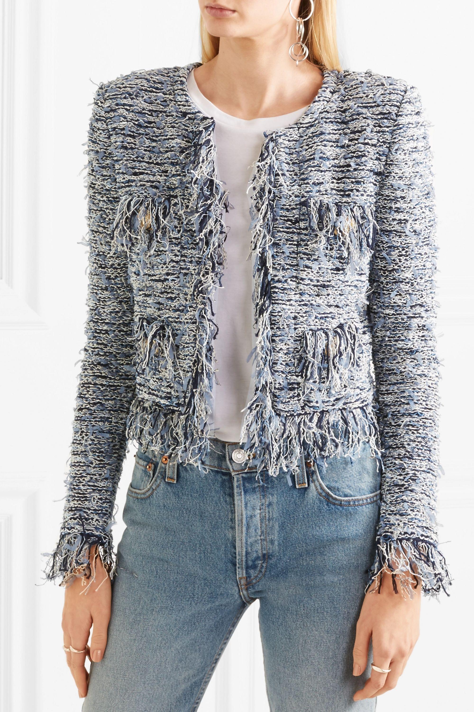 Balmain Cropped frayed bouclé blazer