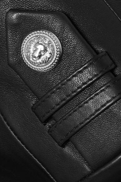 Balmain Blazer aus Leder mit Zierknöpfen