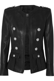 Balmain Button-embellished leather blazer