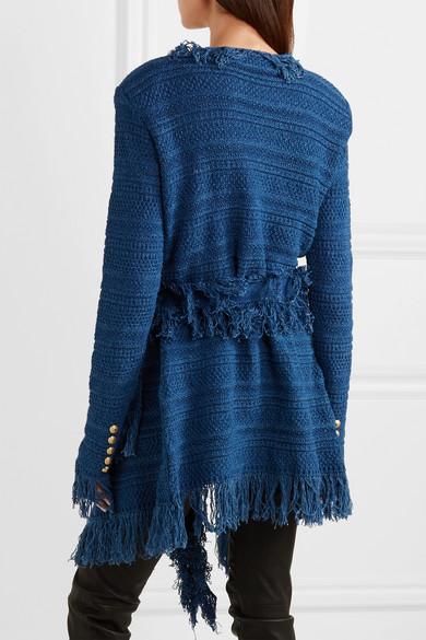 Balmain Blazer aus Baumwoll-Tweed mit Fransen