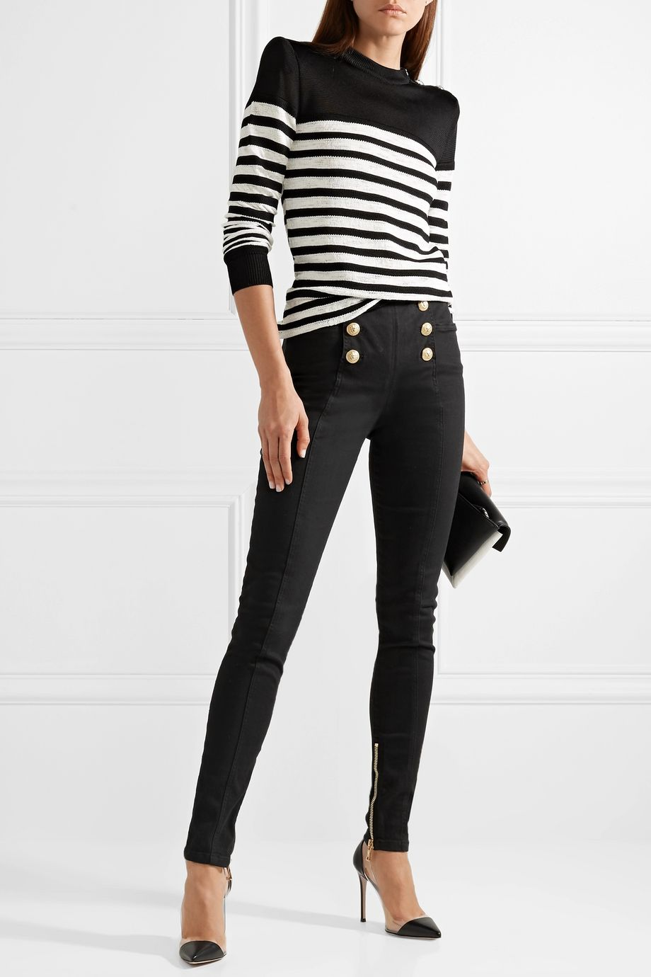 Balmain Button-embellished high-rise skinny jeans