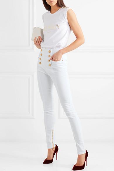 Balmain Hoch sitzende Skinny Jeans mit Knopfdetails