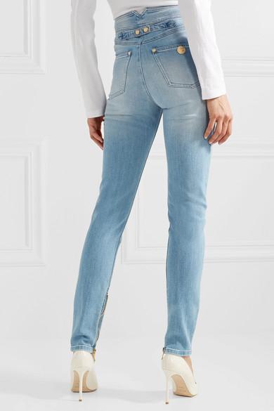 Balmain Hoch sitzende Skinny Jeans mit Zierknöpfen Steckdose Reihenfolge Wiki Wie Viel Y2Vfr6