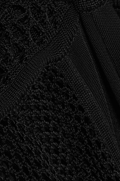 Balmain Jumpsuit aus Stretch-Strick mit Häkelbesatz