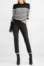 Button-detailed striped open-knit sweater