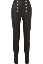 Button-embellished leather skinny pants