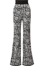 Jacquard-knit flared pants