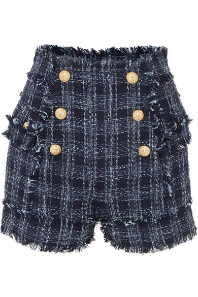 Short Balmain En Tweed De Coton Mélangé Effiloché
