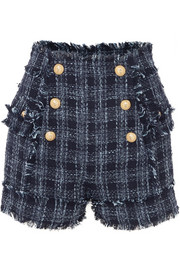 Balmain Button-embellished frayed cotton-blend tweed shorts