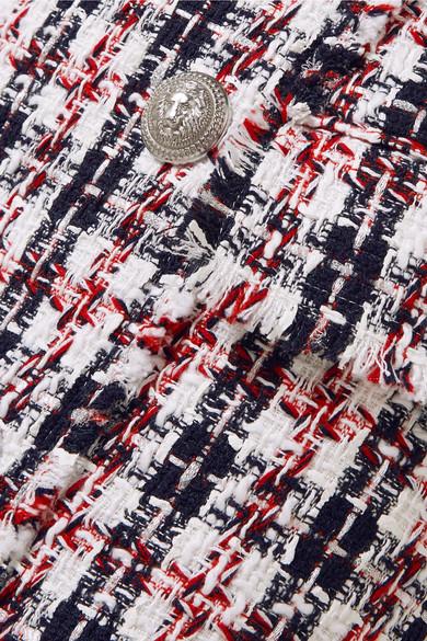 Balmain Minirock aus Metallic-Tweed mit Fransen