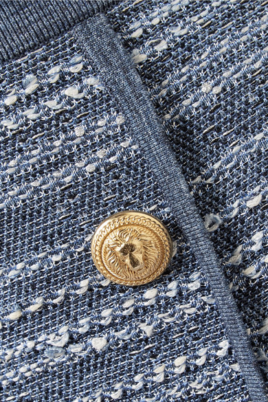 Balmain Minirock aus Tweed mit Jersey-Besätzen