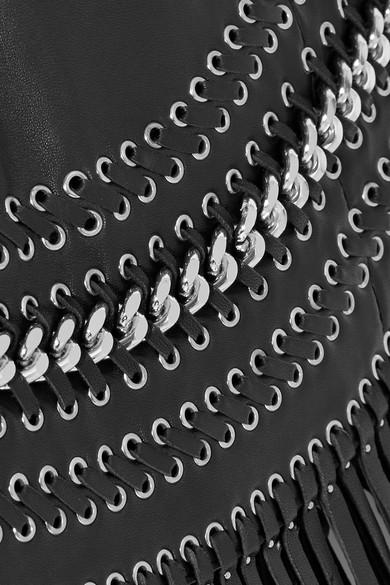 Balmain Verzierter Minirock aus Leder mit Fransen