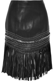 Fringed embellished leather mini skirt