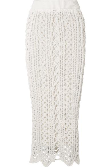 Balmain Midirock aus Strick in Häkeloptik aus Stretch-Baumwolle