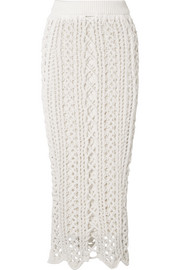 Balmain Crochet-knit stretch-cotton midi skirt