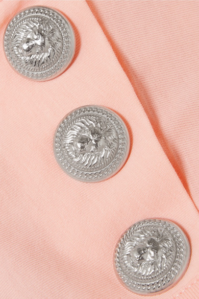 Balmain Bedrucktes Oberteil aus Baumwoll-Jersey mit Zierknöpfen
