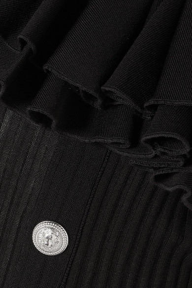 Balmain Oberteil aus Rippstrick mit asymmetrischer Schulterpartie und Volants
