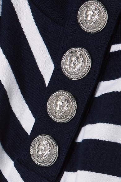 Wahl Günstiger Preis Balmain Bedrucktes Sweatshirt aus gestreiftem Baumwoll-Jersey Verkauf Finish dFFYAg