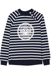 Balmain Printed striped cotton-jersey sweatshirt