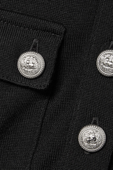 Balmain Oberteil aus einer Woll-Kaschmirmischung mit Knopfdetails