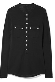 Balmain Button-embellished wool and cashmere-blend top