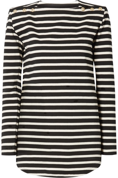 Striped Cotton Jersey Top by Balmain