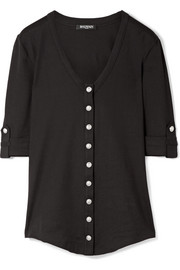 Balmain Button-detailed cotton-jersey top