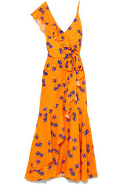 Isadora printed cotton and silk-blend satin maxi dress