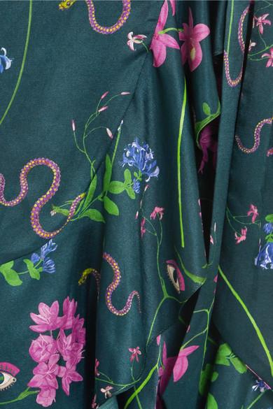 Borgo De Nor Isadora bedrucktes Maxikleid aus Satin aus einer Baumwoll-Seidenmischung