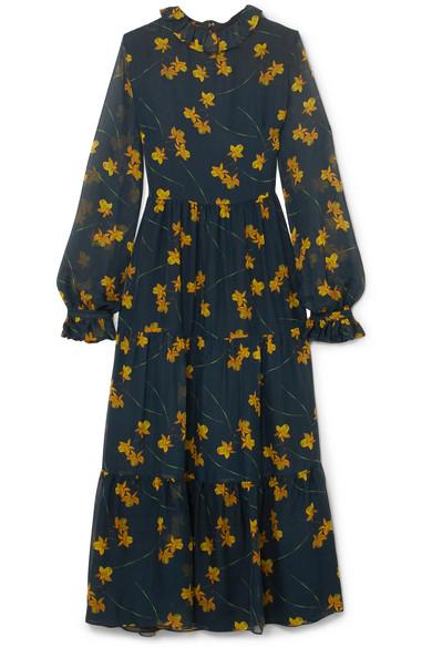 Borgo De Nor - Gala Floral-print Silk-chiffon Midi Dress - Petrol