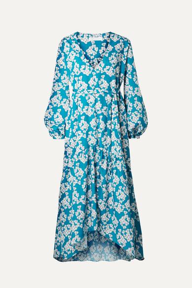 BORGO DE NOR Beatrice Floral-Print Crepe Midi Dress in Blue