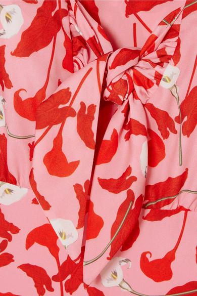 Borgo De Nor Sonia Midikleid aus Crêpe de Chine mit floralem Print