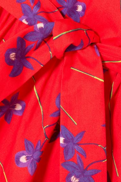 Borgo De Nor Violeta bedrucktes Maxikleid aus Baumwollpopeline mit Rüschen
