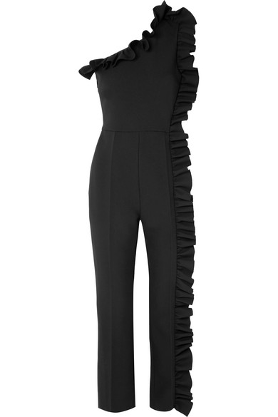 MSGM Jumpsuit aus Crêpe mit asymmetrischer Schulterpartie und Rüschen