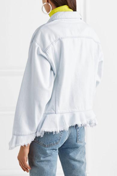 MSGM Jeansjacke mit Schößchen und Fransen