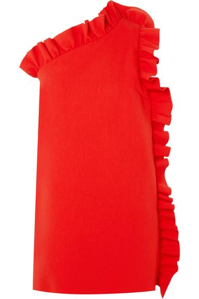 Mini-robe En Crêpe Msgm Avec Épaules Et Volants Asymétriques
