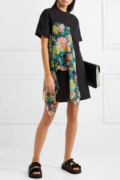 MSGM Kleid aus Chiffon mit floralem Print und Baumwoll-Jersey