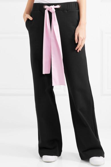 MSGM Hose mit weitem Bein aus Baumwoll-Jersey mit Popelinebesatz
