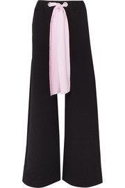 Poplin-trimmed cotton-jersey wide-leg pants