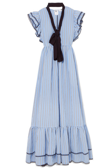 Belted Striped Poplin Maxi Dress - Blue Msgm Sneakernews For Sale Cheap The Cheapest 1m8vo