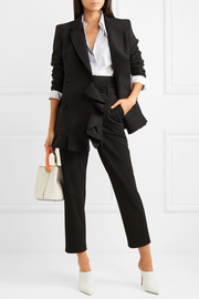 Double-breasted ruffled crepe blazer