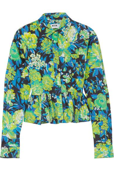 MSGM Baumwollhemd mit Blumenprint und Rüschen