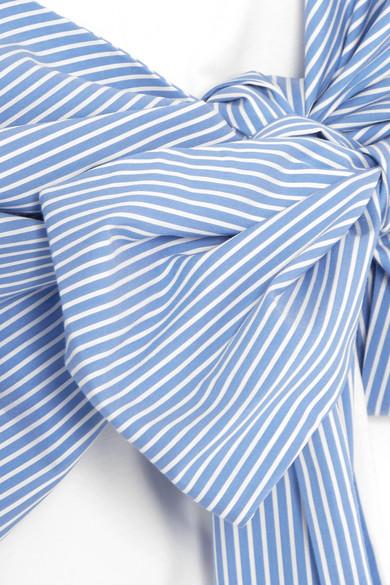 MSGM Mehrlagiges T-Shirt aus Jersey und gestreifter Baumwollpopeline mit Bindedetail
