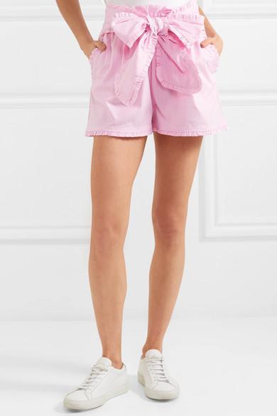 MSGM Gestreifte Shorts aus einer Baumwollmischung mit Rüschen