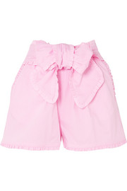 Ruffled striped cotton-blend shorts
