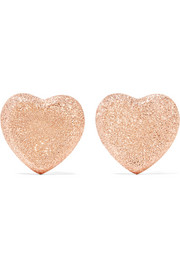 Heart 18-karat rose gold earrings