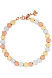 Florentine 18-karat rose, yellow and white gold bracelet