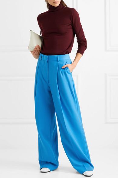 Victoria, Victoria Beckham Hose mit weitem Bein aus Baumwoll-Twill