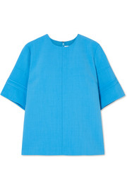 Victoria, Victoria Beckham Silk-trimmed canvas top