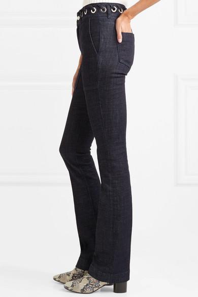 Victoria, Victoria Beckham Hoch sitzende Bootcut-Jeans mit Ösen